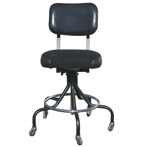 Adjustable Stool With Wheels by Industrial Age Adjustable Black Stool On Casters Ebay