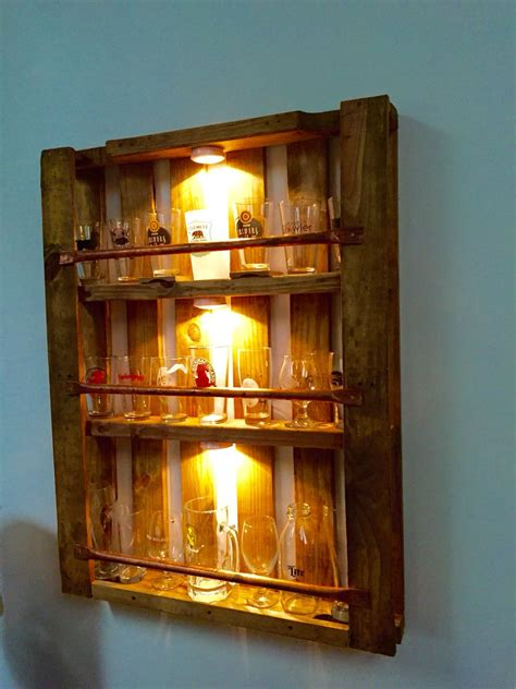 pint glass display cabinet pallet pint glass display finished projects
