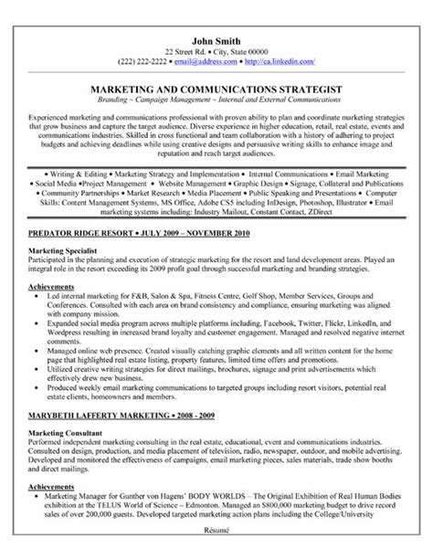 marketing specialist resume template premium resume sles exle