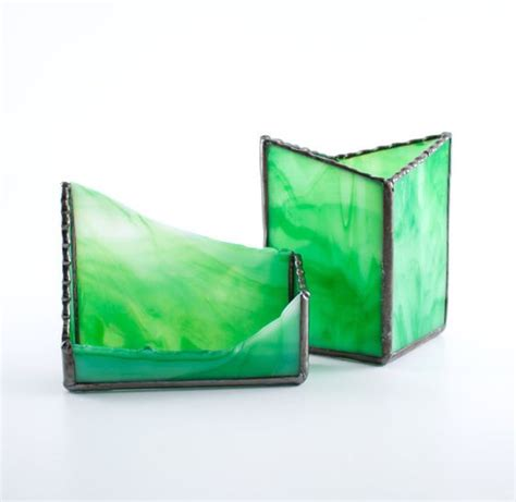 Stained Glass Business Card Holder Pen And Pencil Cup Glass Desk Accessories Sets