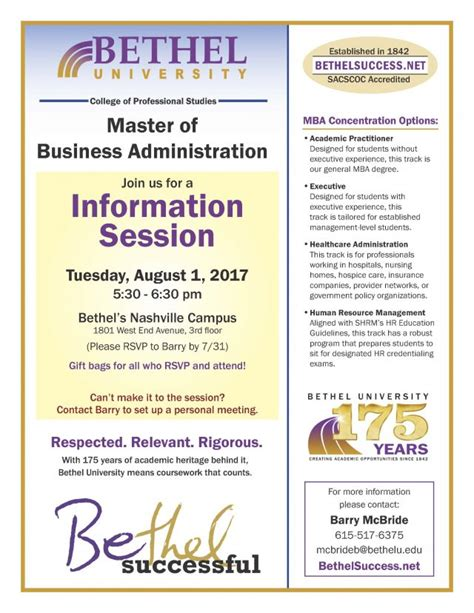 Bethel Success Mba by Mba Information Session Bethel