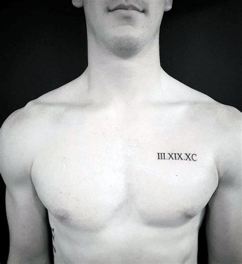 numeral chest tattoo 40 small chest tattoos for men manly ink design ideas