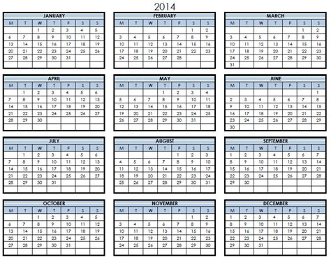 2014 yearly calendar template excel 2014 printable pdf one page calendar yearly 2014 one