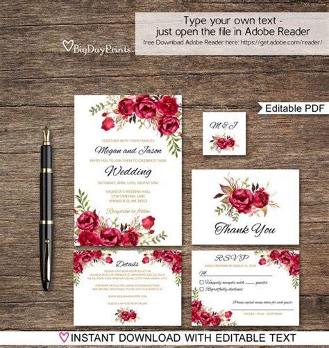 red printable wedding invitation kits best 25 red wedding invitations ideas on pinterest