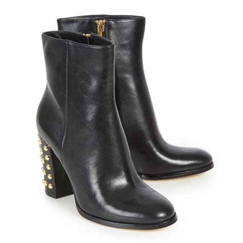 michael kors linden studded heel leather boots in black lyst
