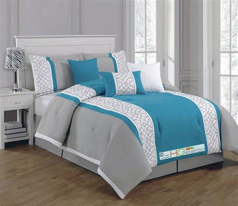 turquoise and gray comforter 7 quilted geometric medallion embroidery comforter set