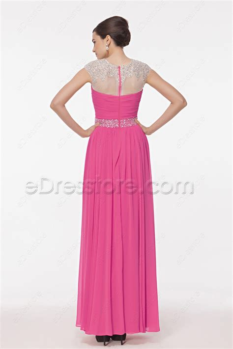 Who Wore It Better Karta Jeweled Waist Dress by Modest Pink Crystals Beaded Evening Dresses