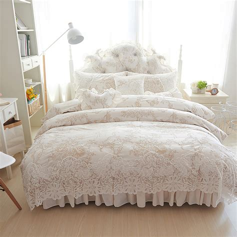 4 6 8pcs princess style winter bedding set white bed skirt