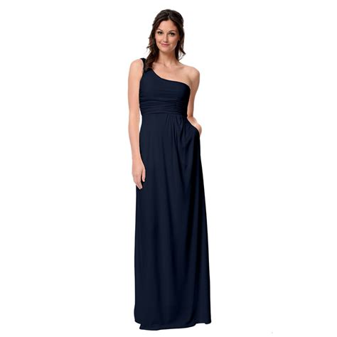 navy one shoulder long ᗑ bridesmaid bridesmaid