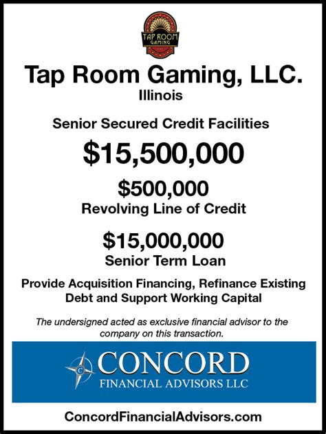 tap room gaming tap room gaming llc concord financial advisors