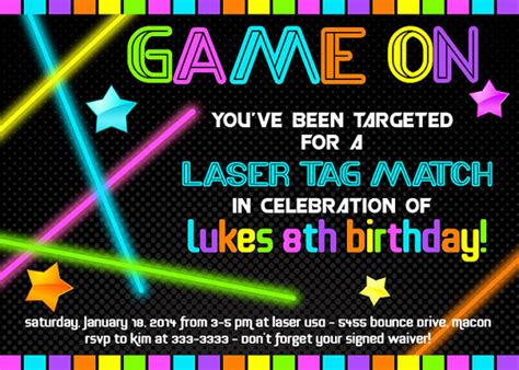 printable birthday invitations laser tag laser tag birthday invitation neon glow in the by