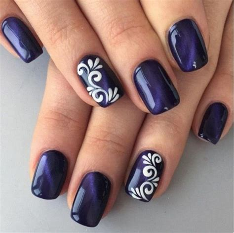 Simple Nail Paint Design by 30 Blue Nail Designs Blue Nails White