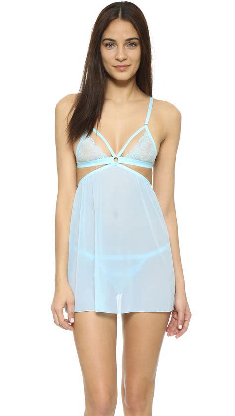 Babydoll G String Bupurm75 honeydew intimates lace babydoll set in blue lyst