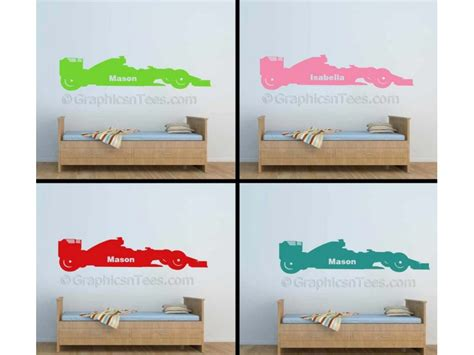 personalised bedroom wall stickers personalised childrens name f1 racing car bedroom playroom formula 1 wall sticker