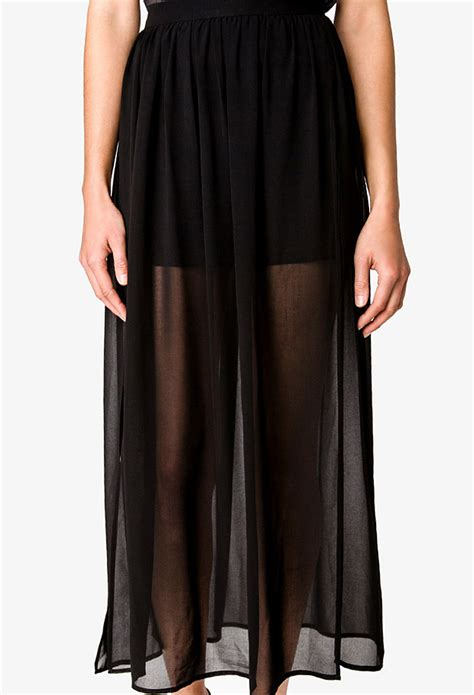 forever 21 slit chiffon maxi skirt in black lyst