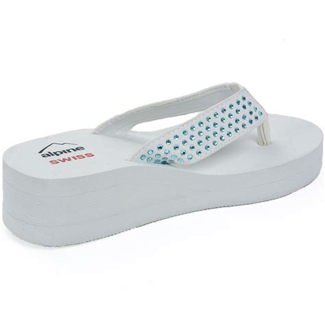 Wedges Slope Stripe Da1007 alpine swiss womens rhinestone sandals platform high heel wedge flip flops ebay
