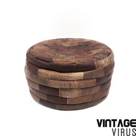 Mid Century Brown Ottoman Made Of Patchwork Leather From The Ottoman Centuries
