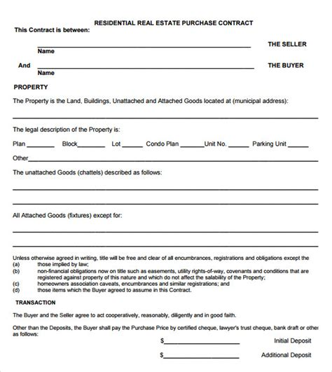 real estate purchase contract template real estate purchase agreement 9 free sles