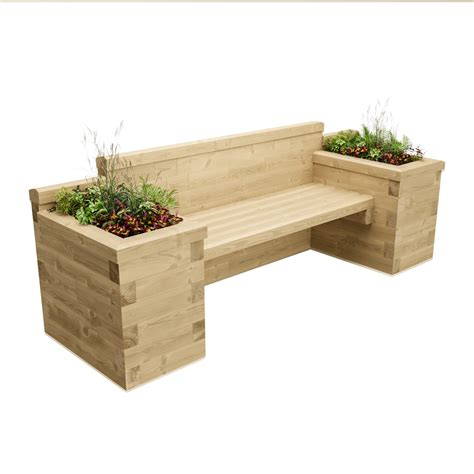 planter bench seat planter seat with bookend beds 2 4 x 0 75 x 0 85m