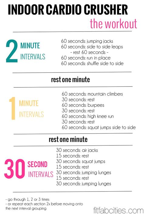 printable exercise routines for weight loss printable workout indoor cardio crusher weight loss tips