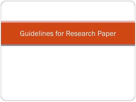Guidelines In A Research Paper - guidelines for research paper