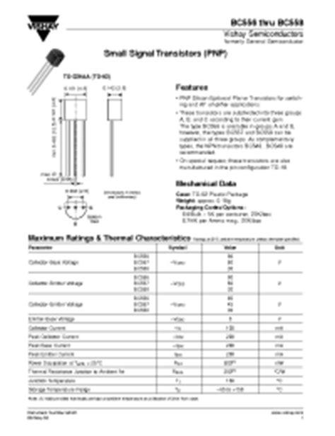datasheet of transistor bc558 bc556 bc558 general semiconductor pnp