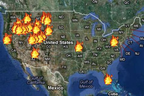 map of current wildfires the age of western wildfires climate central