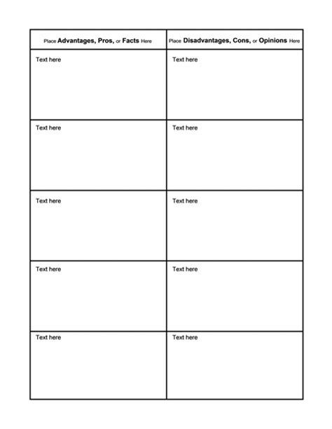 pros and cons matrix template pros and cons comparison t chart for students chart templates
