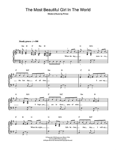 prince the most beautiful girl in the world sheet music