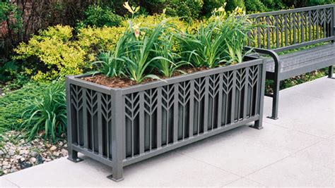 metal planters outdoor spencer series powder coated steel rectangular planter