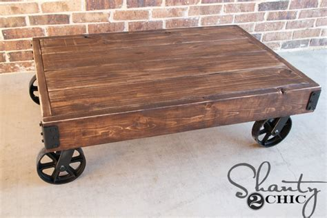 Diy Factory Cart Coffee Table Shanty 2 Chic Diy Cart Coffee Table