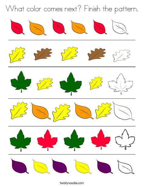 pattern art for kindergarten what color comes next finish the pattern coloring page