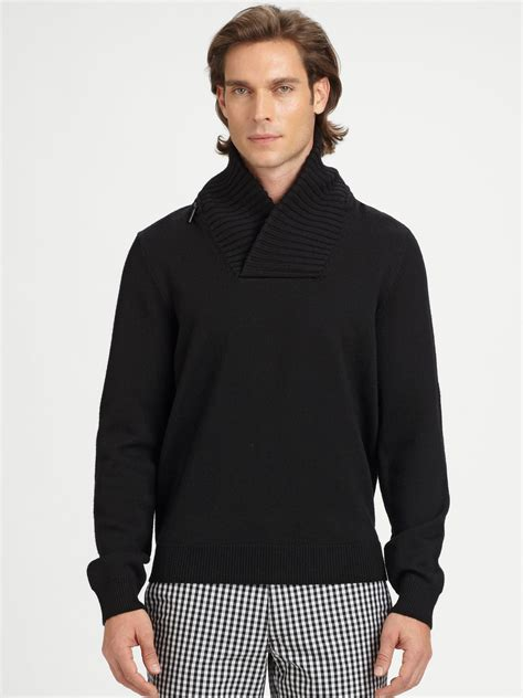 Michael Sweater Black Limited 1 lyst michael kors shawl collar sweater in black for