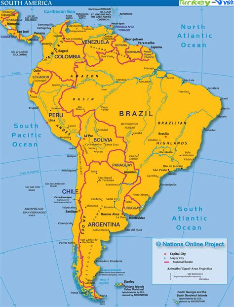 american countries map map of south america