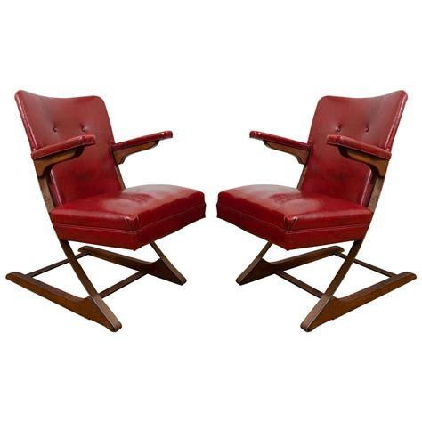 Naugahyde Chair by Mid Century Pair Of Naugahyde Armchairs By Wanamaker
