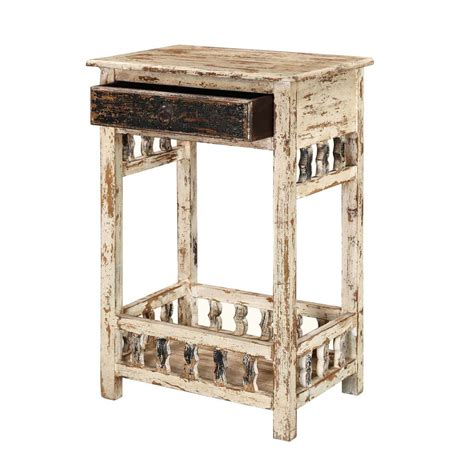 Distressed Wood Nightstand by Winter White Distressed Mango Wood 35 Nightstand End Table
