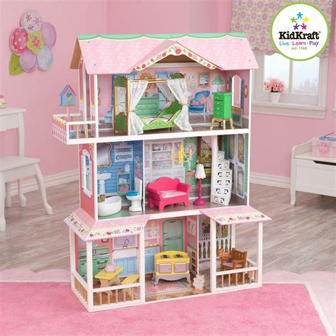 dolls house kidkraft kidkraft princess castle wooden dollhouse with 14 pieces