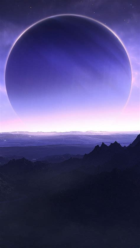 planets mountains sea sky artwork wh wallpaper