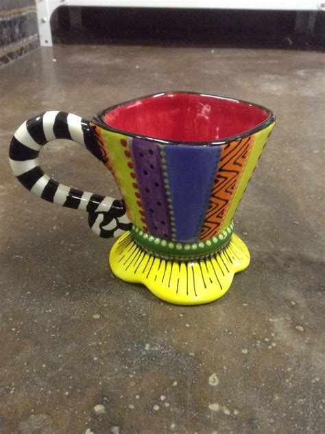 funky coffee mugs online funky ceramic painted coffee mug lisa b s ceramics