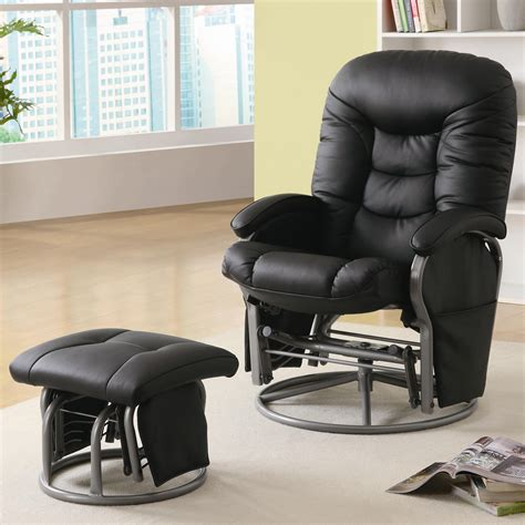 Chairs With Ottomans That Rock And Recline Recliners With Ottomans Casual Leatherette Glider Recliner