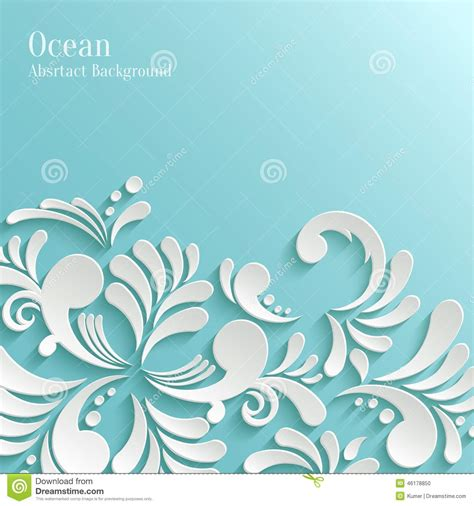 Abstract Ocean Background With 3d Floral Pattern Stock Vector   Image: 46178850