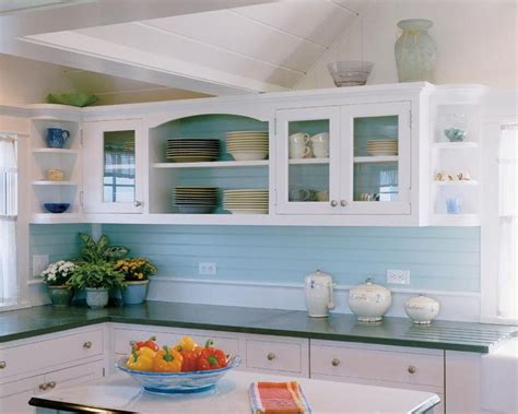 cottage kitchen backsplash horizontal beadboard backsplash painted pretty colour