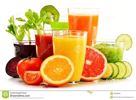 3 fruit juice glasses with fresh organic vegetable and fruit juices on