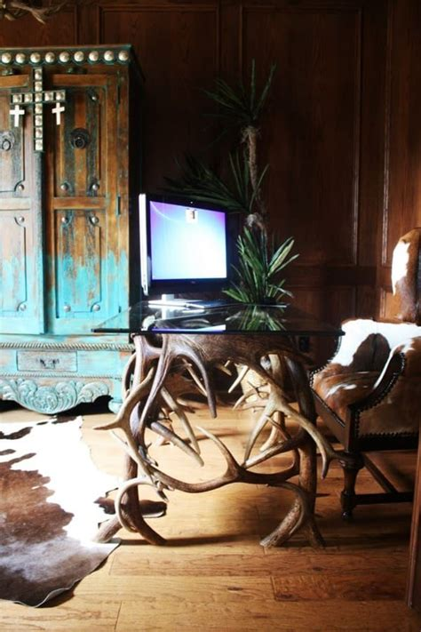 Cowhide Desk - stunning office interiors with cowhide rugs