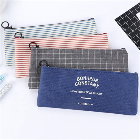 New Korean Pounch new creative vintage striped canvas pencil cases makeup