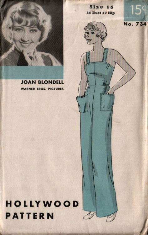 vintage overall pattern hollywood 734 overalls and vintage sewing patterns