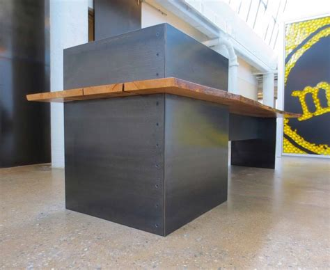 Industrial Style Reception Desk Custom Made Metal Modern Industrial Plate Steel Reception Desk With Maple Live Edge Slab Top