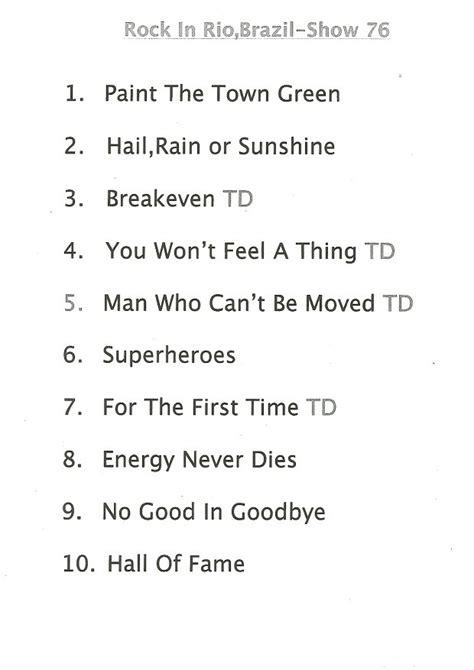 the script setlist setlist the script no rock in rio 2015 rock in rio