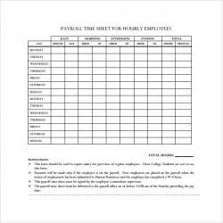 Payroll Time Sheets Template by Payroll Timesheet Template 10 Free Documents
