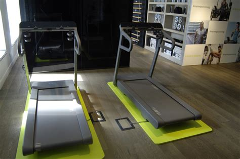 designboom gym myrun technogym treadmill enhances fitness regime at milan